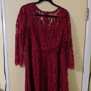 Burgundy Sheer Overlay Dress